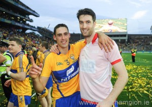 Brendan Bugler and Darach Honan after last September's All-Ireland win.  Photograph by John Kelly