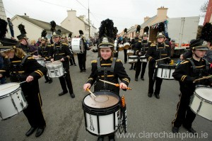 Members of the City Rhythm band from Limerick performing at the St Patrick's Day Parade in Doonbeg. Photograph by John Kelly.