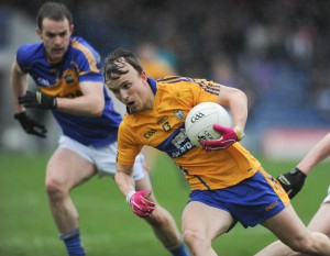 Martin O Leary of Clare bursts through the Tipperary defence during the National League game at Thurles. Photograph by John Kelly.