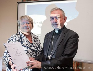 Bishop Kieran O'Reilly, Bishop of Killaloe and Cleo Yates, Director of Safeguarding, at the Diocese of Killaloe report launch. Photograph by Arthur Ellis.