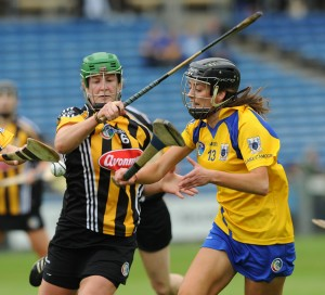 Edwina Keane of Kilkenny in action against Catriona Hennessy of Clare during their Division 1 National League Camogie Final in Thurles. Photograph by John Kelly.