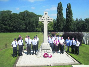 The 16th Irish Division Memorial Cross at Wytschaete Military Cemetery where a number of Clare war dead are buried.