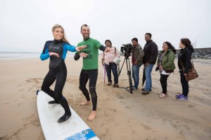 TV presenter Olivia Cox gets a surf lesson from Ben Bennett, Ben's Surf Clinic in Lahinch; also pictured are producer Santosh Singh, cameraman Abhishek Surendra Jain, director Joseph Panikulan; Arundhati Sawant, Tourism Ireland; and Karen Goggin, Fáilte Ireland.