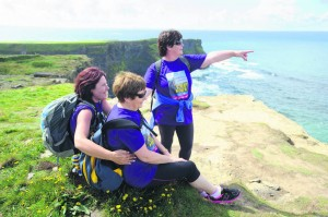Kathleen Shannon, Vera Arthur and Christine O Doherty take in the view at hags Head during the Weightwatchers/Clare Champion Liscannor to Cliffs of Moher coastal walk. Photograph by John Kelly.