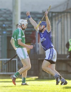 Gearoid Considine of Cratloe celebrates a goal against Kilmallock during their Munster Club final at The Gaelic Grounds. Photograph by John Kelly.