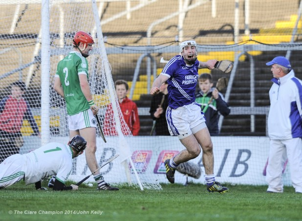Conor Mc Grath of Cratloe celebrates a late crucial goal against Kilmallock during their Munster Club final at The Gaelic Grounds. Photograph by John Kelly.