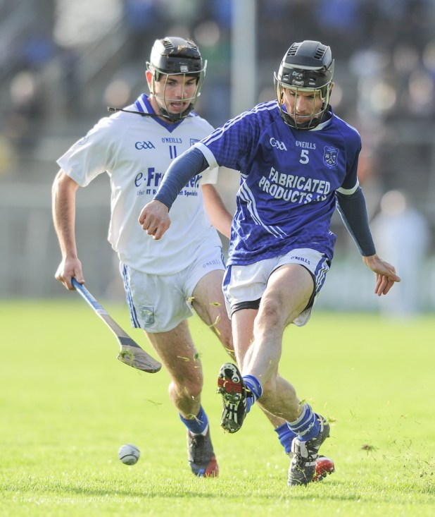 Aidan Mc Cormack of Thurles Sarsfield's in action against Sean Chaplin of Cratloe during their Munster Club quarter final in Cusack park. Photograph by John Kelly.