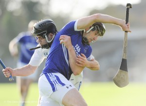 Aidan Mc Cormack of Thurles Sarsfield's in action against Michael Hawes of Cratloe during their Munster Club quarter final in Cusack park. Photograph by John Kelly.