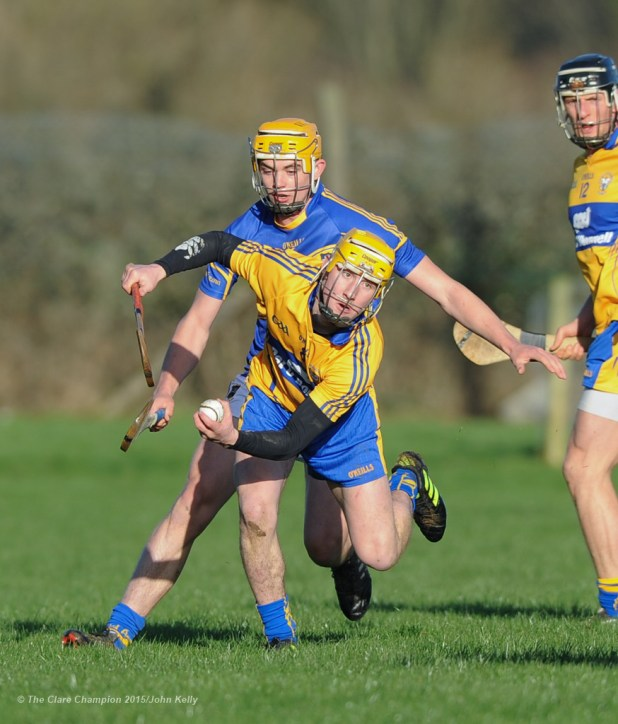Colm Galvin of Clare in action against Ronan Maher of Tipperary during their Waterford Crystal Cup game at Sixmilebridge. Photograph by John Kelly.