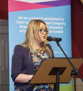 MC, Joanne Sweeney-Burke speaking at the official launch of #DigitalClare in the Temple Gate Hotel, Ennis. Photograph by John Kelly.