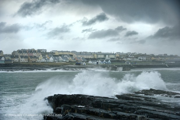 A view of the the high seas and growing waves forming at Kilkee as the wind picks up on Monday afternoon. Photograph by John Kelly.