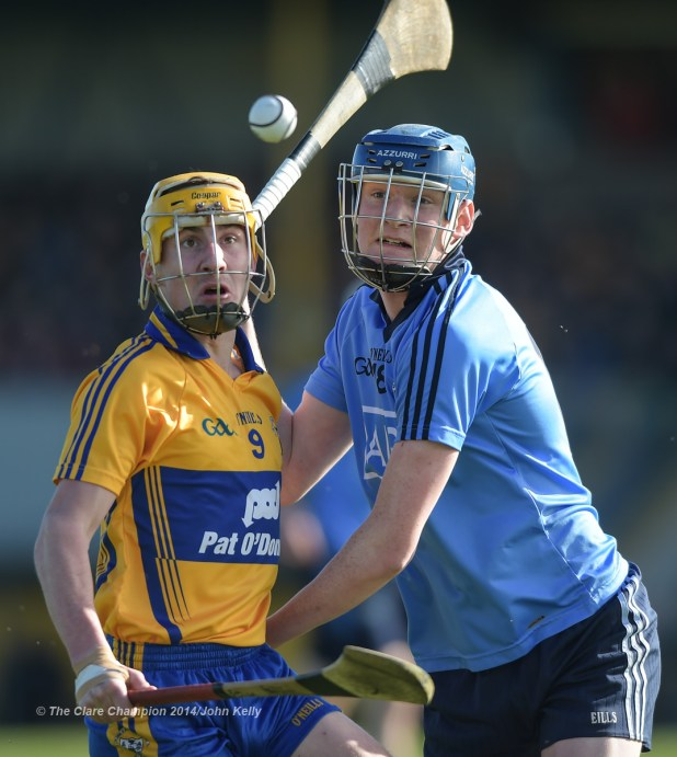 Colm Galvin of Clare in action against Shane Barrett of Dublin during their NHL Division 1 Round 4 game in Cusack Park. Photograph by John Kelly.