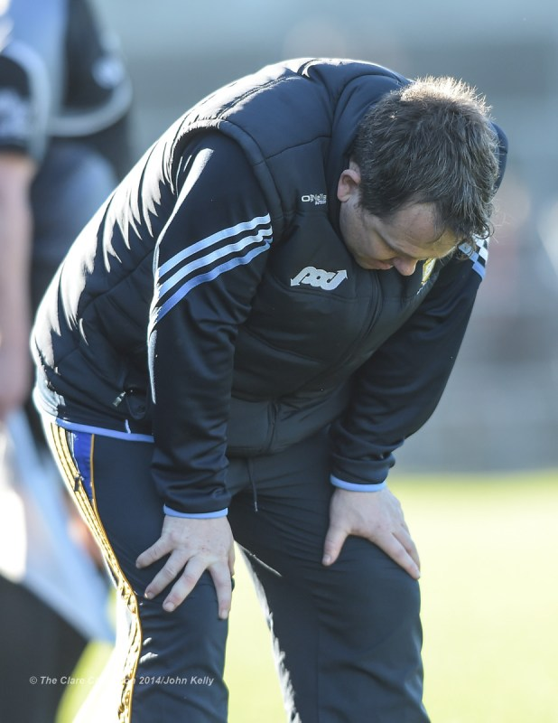 Clare  manager Davy Fitzgerald gathers his breath after the final whistle in their NHL Division 1 Round 4 game against Dublin in Cusack Park. Photograph by John Kelly.