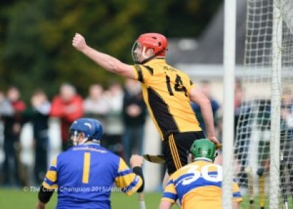Alan O Connell of Clonlara celebrates his goal against Sixmilebridge during the Junior A final at Broadford.