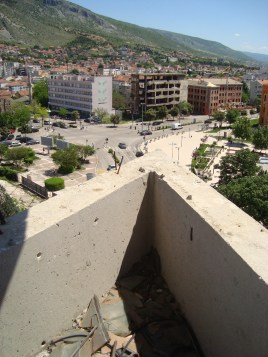 Destroyed buildings, view from the sniper's nest, Mostar