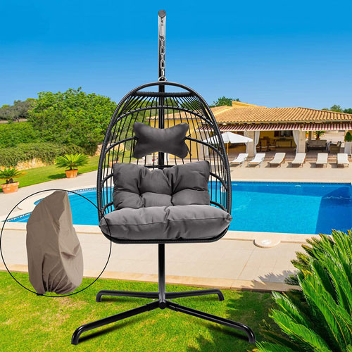 Egg Chair Rattan Wicker Hanging Outdoor Chair with Stand Indoor