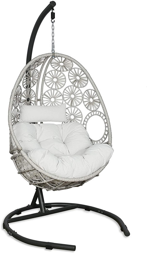 Furniture Outdoor Patio Wicker Hanging Basket Swing Chair Tear Drop Egg Chair