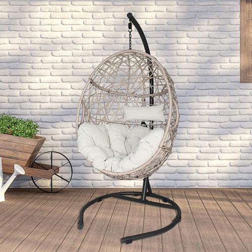 Iwicker Outdoor Rattan Egg Hanging Swing Chair