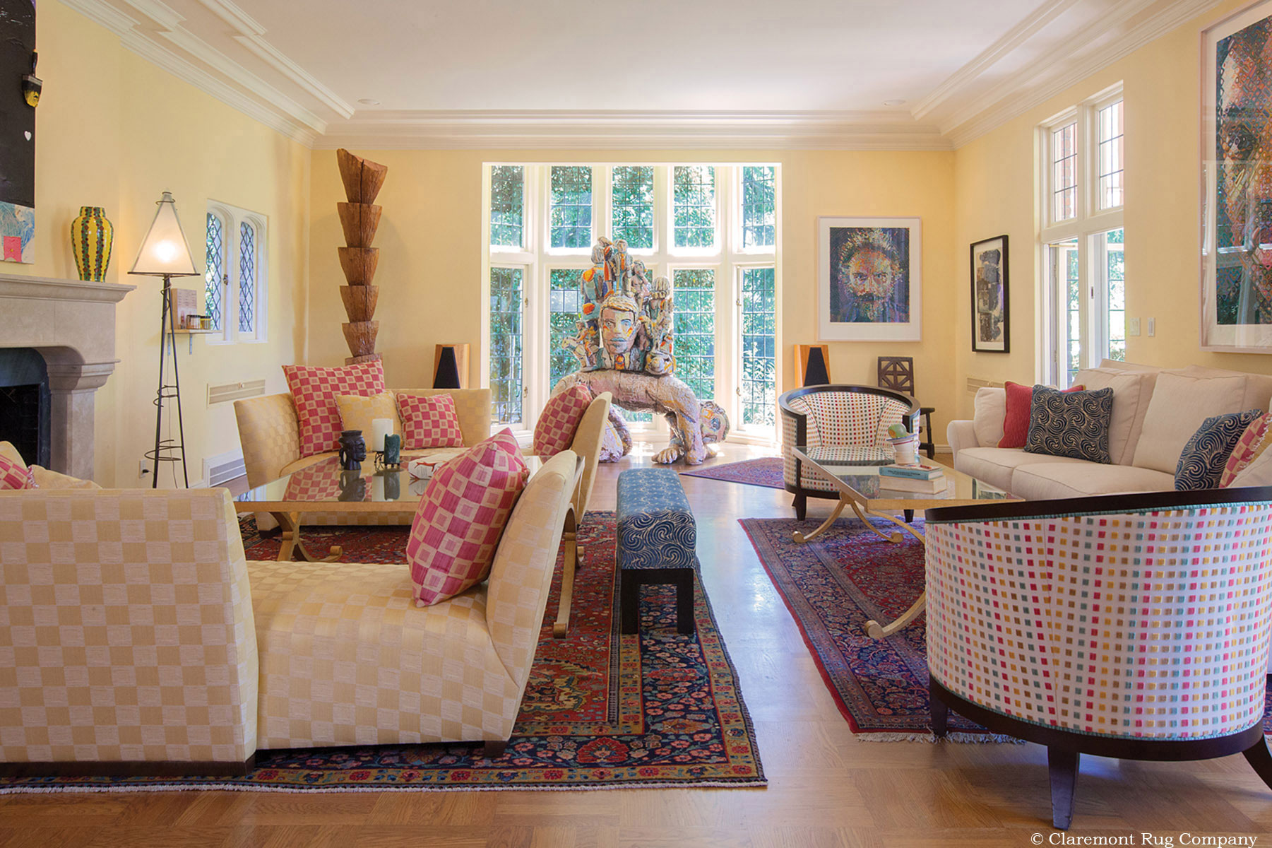 modern living room with persian rug chairs that swivel early 20th century floral carpets add artistic ...