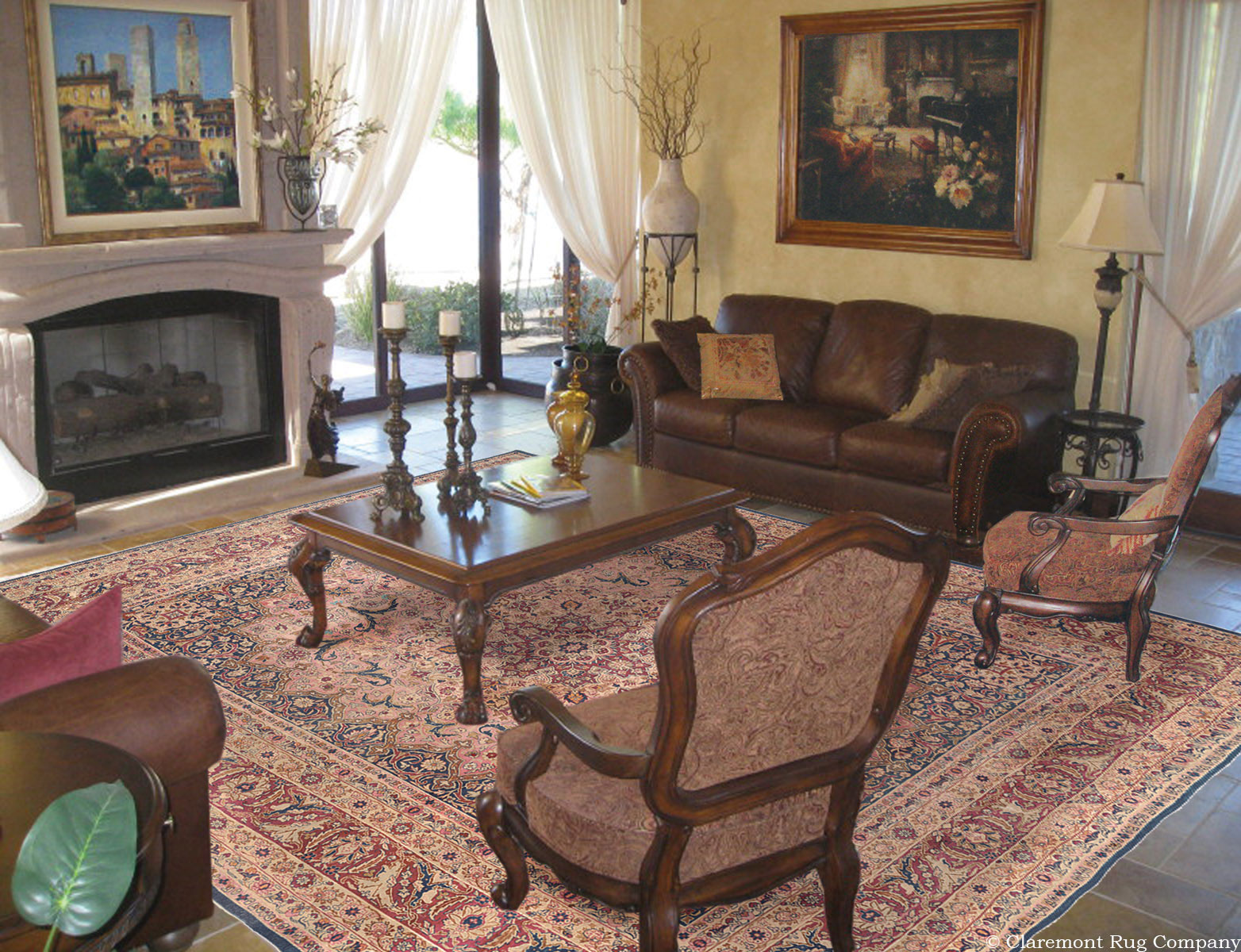 traditional living rooms with oriental rugs small room interior design images antique laver kirman rug creates calm in sitting a 150 year old persian carpet adds timeless romance to this elegant