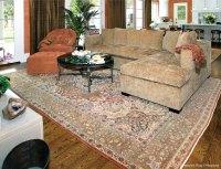 Antique Persian Tabriz Carpet Enhances Striking Living Room