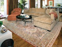 Antique Persian Tabriz Carpet Enhances Striking Living Room