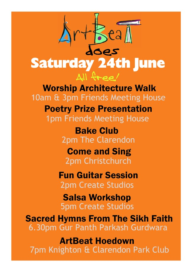 Events at ArtBeat Saturday 24th June