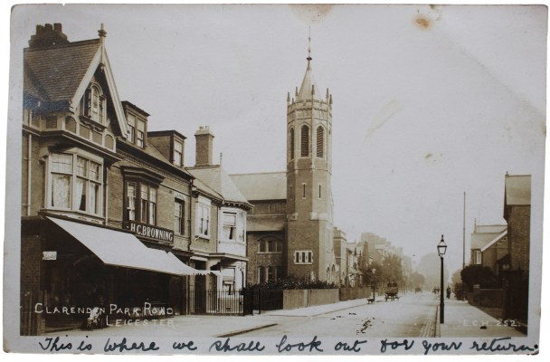 A postcard of Clarendon Park Road in Leicester, posted in 1908
