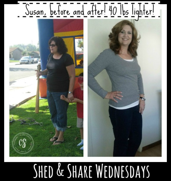 Shed & Share Wednesdays: Meet Susan and find out how she lost over 40 lbs! www.claresmith.me