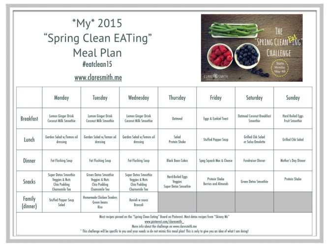 """My"" 2015 ""Spring Clean EATing"" Meal Plan : www.claresmith.me"
