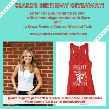 Clare's Birthday Giveaway: Share, pin, post, or tweet to be entered! (Check out the new pilates video, too!) : peak313.com