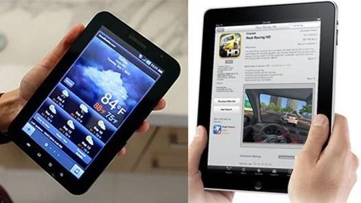 La Galaxy Tab de Samsung (izquierda), junto al iPad de Apple