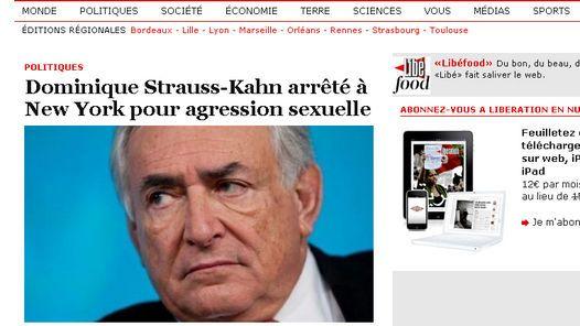 ESCANDALO. La sorpresa por la detención de Strauss-Kahn, en el diario Liberation.