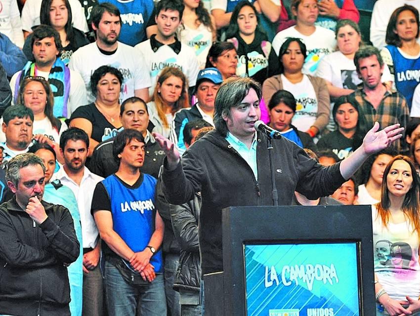 En Ferro. Máximo Kirchner dio su primer discurso público el sábado 13.