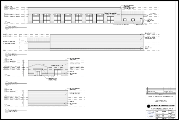 Technical drawing of elevations