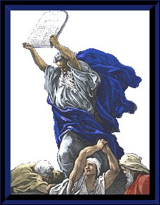 Moses holding up the ten commandments tablet