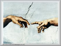 Portion of Michelangelo's painting showing God's finger reaching out and touching man's finger