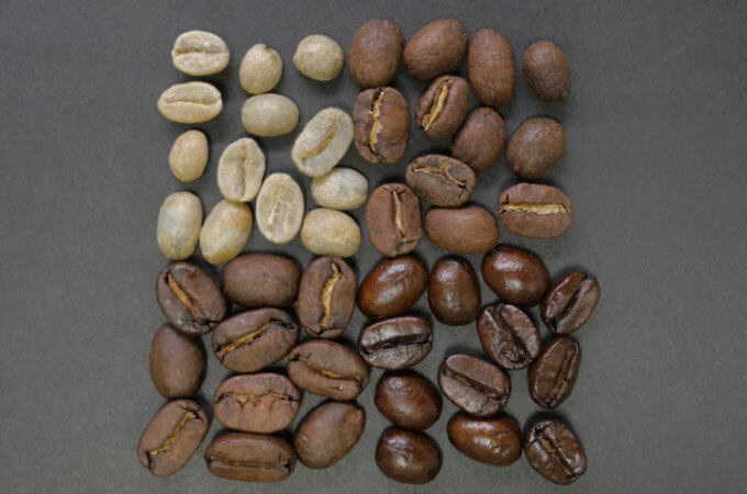 Unroasted Light Medium Dark Roast coffee beans
