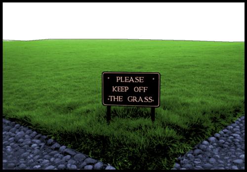 Phrases with keep: keep off the grass