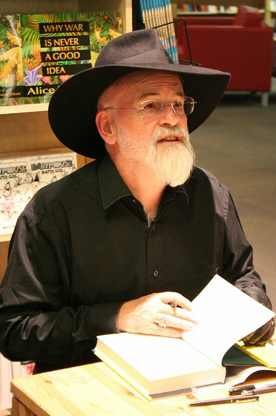 Terry Pratchett at a book signing