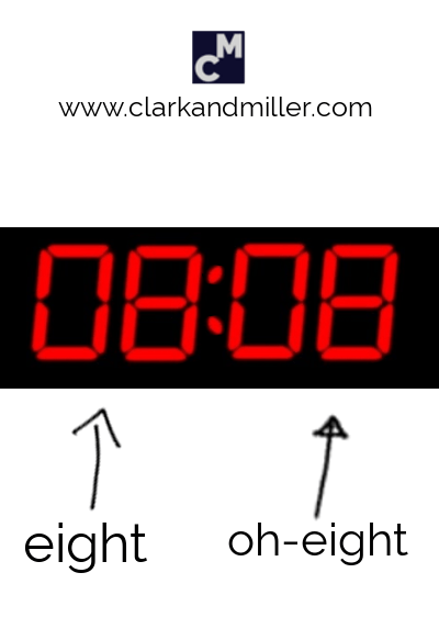 A digital clock showing eight oh-eight