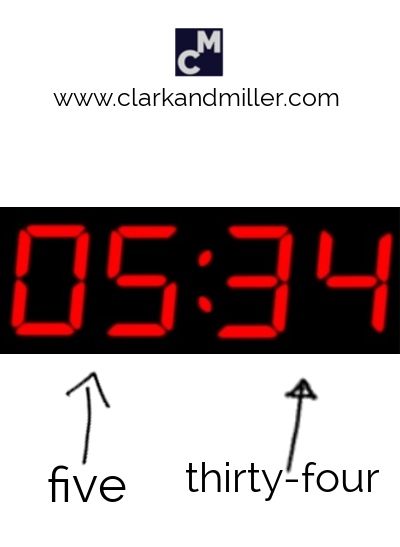 A digital clock showing five thirty-four