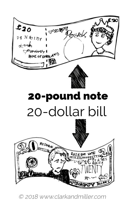 20-pound note and 20-dollar bill