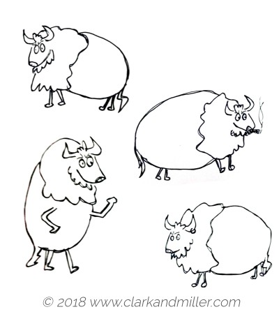 Drawing of four buffalo