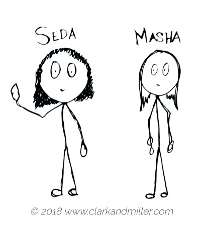 Two stick figure women