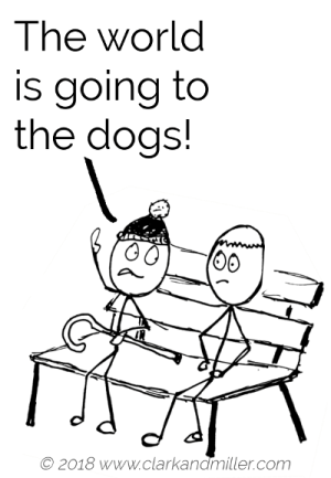 Opinion example comic: The world is going to the dogs!