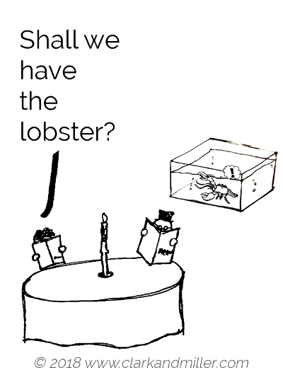 Suggestion example comic: Shall we have the lobster?