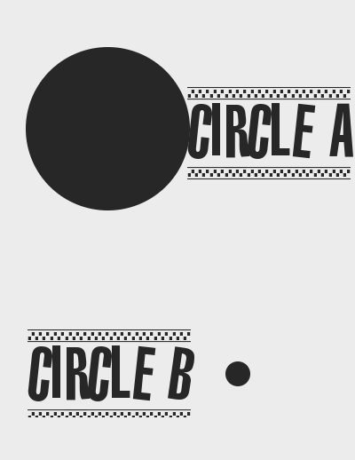 Circle A (a big circle) and circle B (a very small circle)