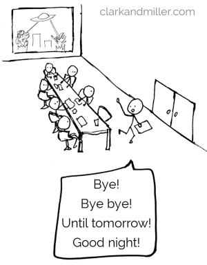 List of words for goodbye: Bye! Bye bye! Until tomorrow! Good night!