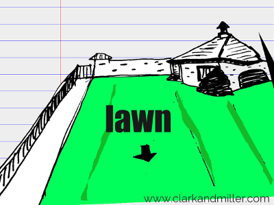 lawn drawing with text